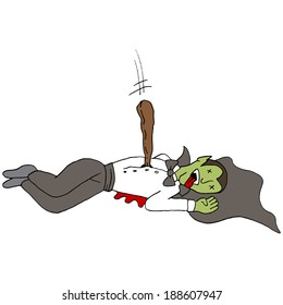 An image of a staked vampire.