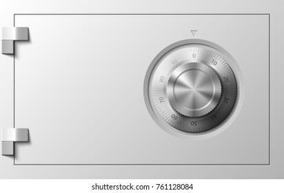 Image of a steel safe. Armored box background. The door safe a bank vault with a combination lock. Reliable Data Protection. Long-term savings. Deposit box safe icon.Protection of personal information