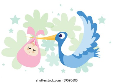 An image of a stork flying and carrying a baby girl in its beak