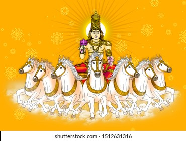 Image of Sun God or Soorya Bhagwan, one of the Navagrahas in Indian astrology, seated on 7 white horses, on abstract background.