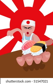 An image of a sushi chef holding to pieces of fish in his palms, while holding a knife in the other hand