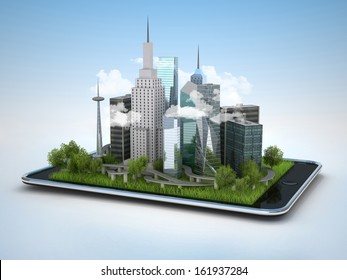 Image of tablet with illustration of city, 3d