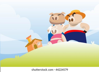 An image of the three little pigs admiring their brick house from a small hillock