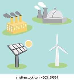 An image of utility energy company icon set.