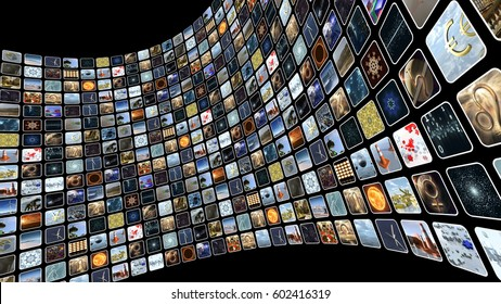Image wall with many icons on screen. 3D rendering