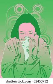 An image of a woman suffering from a cold and blowing her nose into a tissue
