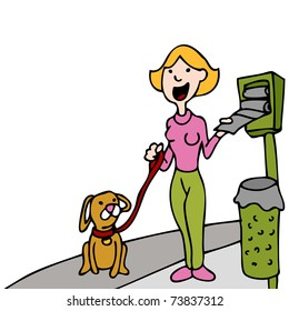 An image of a woman using a pet waste bag stand while walking her dog.