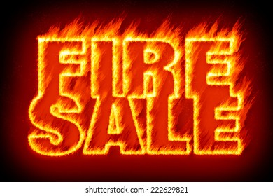 An image of the word fire sale in flames