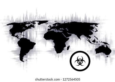 image of a world map that displays or illustrates biological risk, concept of biological warfare.