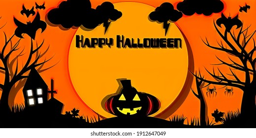 Images with happy halloween text, with a spooky and fun night atmosphere