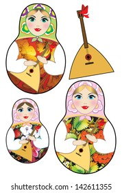 Images of russian dolls and balalaika on a white background.