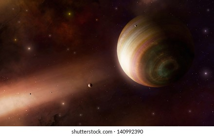 Imaginary big gas giant under the ray of light