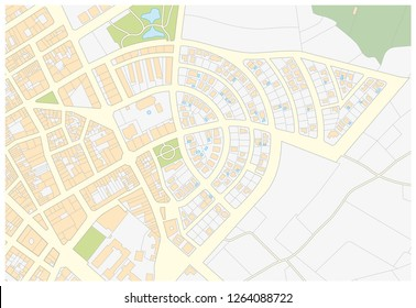 Imaginary cadastral map of an area with buildings and streets
