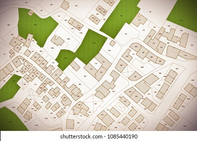 Imaginary cadastral map of territory with buildings, roads, land parcel and free green land available for building construction. Concept image