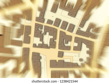 Imaginary cadastral map of territory with buildings, roads and land parcel - blurred concept image