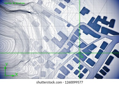 Imaginary cadastral map of territory with buildings and roads drawn with a CAD (Computer-Aided-Design) computer software in dwg format file