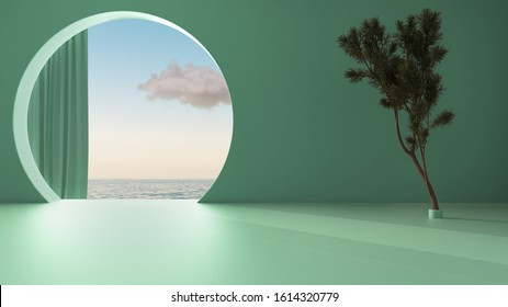 Imaginary fictional architecture, interior design of empty space with round arched window with curtain, concrete teal walls, potted pine tree, sunrise sunset sea panorama with cloud, 3d illustration