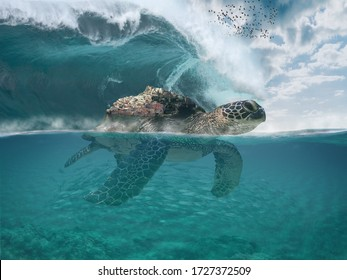 Imaginary fictional dreamy sea landscape with a sea turtle getting Castelsardo town to safety. Big tzunamy wave. Underwater scene. Visionary place background with copy space, 3d illustration