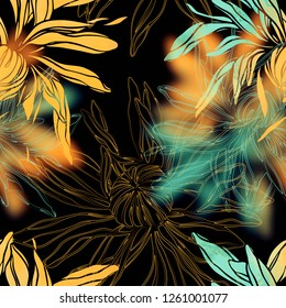 imaginary flowers like Japanese chrysanthemums mix repeat seamless pattern. digital picture with watercolour texture. mixed media artwork. endless motif for textile decor and design