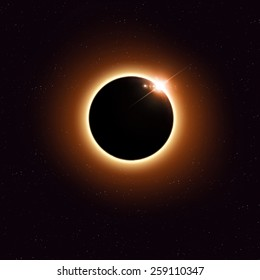 imaginary solar eclipse space red image with stars and lights