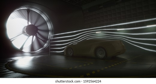 Imaginary sports car, modeled and created using CAD software. Conceptual prototype inside aerodynamic tunnel. 3D illustration.