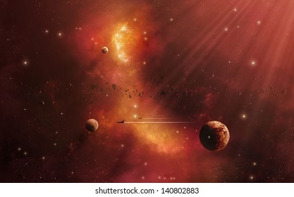 Imaginary star journey to the other worlds in space