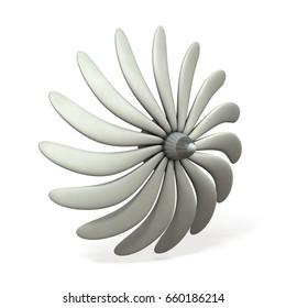 An imaginary turbine image. 3D illustration