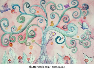 An imaginary turquoise lunatic tree. The dabbing technique near the edges gives a soft focus effect due to the altered surface roughness of the paper.