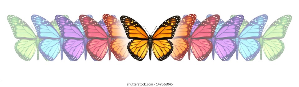 Imagination freedom with a monarch butterfly changing and going through a color transformation and evolution as a concept of free expression creativity and design innovation on white.