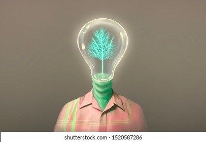 Imagination light bulb human head with glowing tree, fantasy illustration, surreal painting, concept ideas