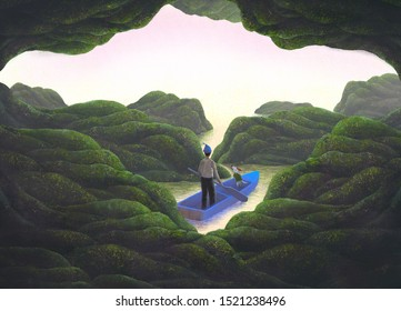 Imagination man with dog on boat in fantasy nature, sea, illustration