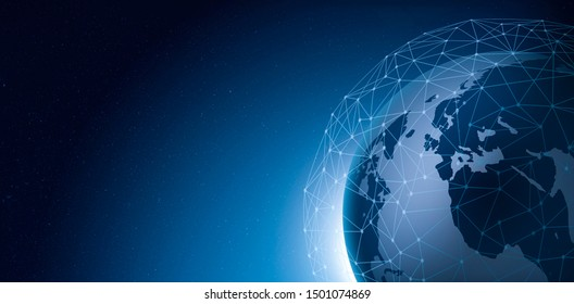 imagination of net work communication on earth and night sky from space in panorama with copy space