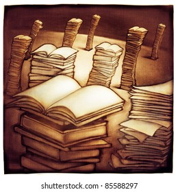 imaginative landscape with stacks of books, metaphor (artistic painting)