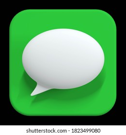 imessage application 3d icon, white chat bubble icon on the green background. apple interface app. 3d render