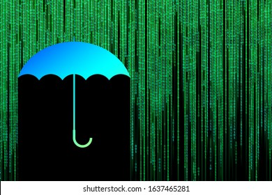 Imitation of a binary code in the form of a matrix. An umbrella protects from the flow of information isolated on a black background. Illustration.