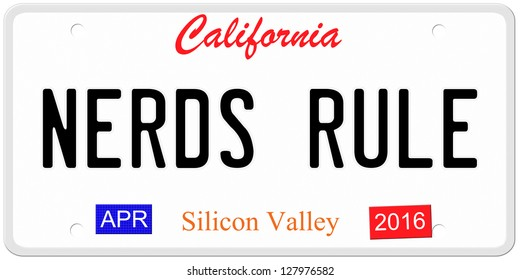 An imitation California license plate with April 2016 stickers and NERDS RULE written on it making a great concept.  Words on the bottom Silicon Valley.