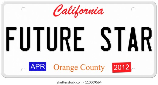 An imitation California license plate from Orange County with the words Future Star showing a Hollywood Concept.