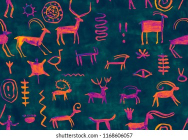 Imitation of hand drawing in a cave painted blue, purple by an ancient man on a rock green wall. Hunting for deer, animal. Shaman, aboriginal, neanderthal, roe, mammoth, hunter Seamless pattern.