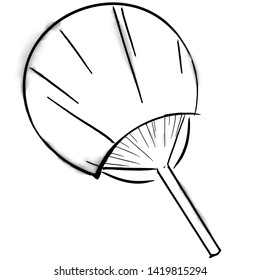 Imitation of ink  illustration. Uchiwa fan.