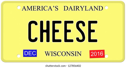 An imitation Wisconsin license plate with December 2016 stickers and CHEESE written on it making a great concept.  Words on the top America's Dairyland.