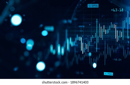 Immersive financial graph interface with bright cyan numbers. Stock market and fintech concept. 3d rendering toned image double exposure