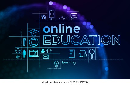 Immersive futuristic online education interface over blurry blue background with planet hologram. Concept of e learning during covid 19 pandemic. 3d rendering double exposure