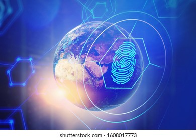 Immersive HUD cyber security interface and planet Earth over blurry blue background. Concept of data protection. 3d rendering toned image double exposure. Elements of this image furnished by NASA