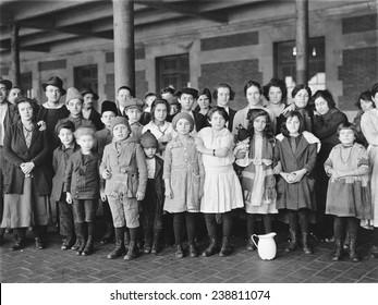 Immigrant children, Ellis Island, New York. ca. 1908