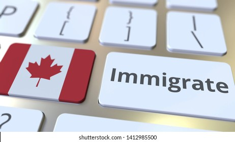 IMMIGRATE text and flag of Canada on the buttons on the computer keyboard. Conceptual 3D rendering