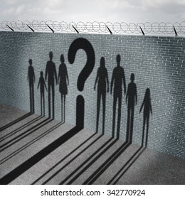 Immigration crisis as foreign people on a border wall with refugees or illegal immigrants with the cast shadow of a group of migrating women men and children with a question mark.