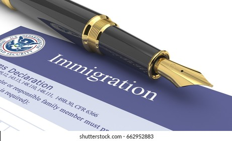 Immigration document. 3d illustration