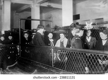 Immigration. Female European immigrants being processed at Ellis Island, ca. 1907