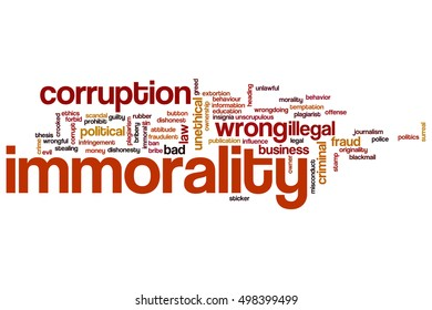 Immorality word cloud concept