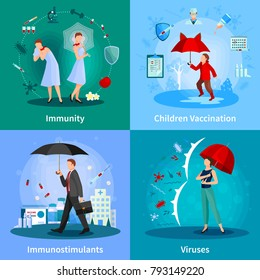 Immune system concept with people under umbrellas madication and vaccination viruses and bacteria isolated  illustration